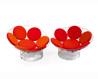 A pair Verner Panton for Plus-Linje Peacock chairs