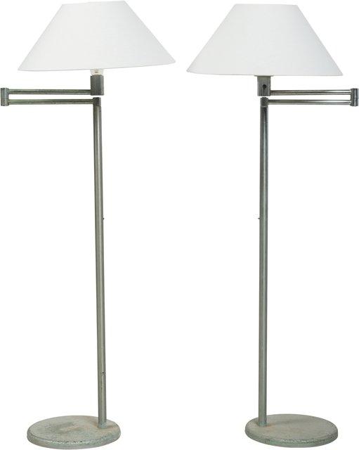 Walter Von Nessen Pair Of Swing Arm Floor Lamps From
