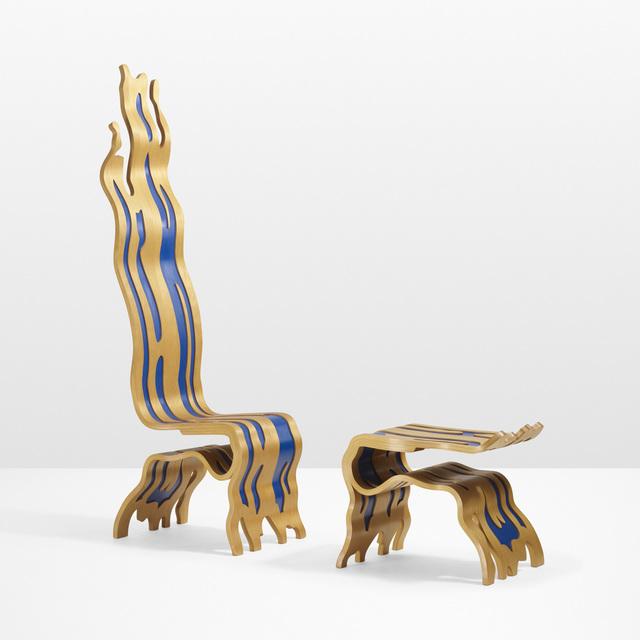 Roy Lichtenstein, 'Brushstroke Chair and Ottoman', 1986-1988, Design/Decorative Art, Laminated and lacquered white birch plywood, Rago/Wright