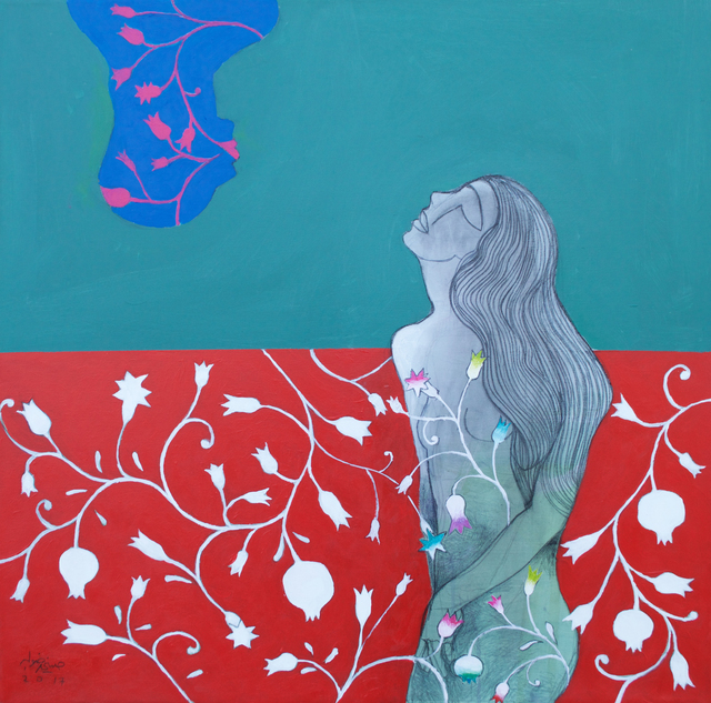 Hosni Radwan, 'Pomegranate Kiss ', 2017, Painting, Acrylic on canvas, Zawyeh Gallery
