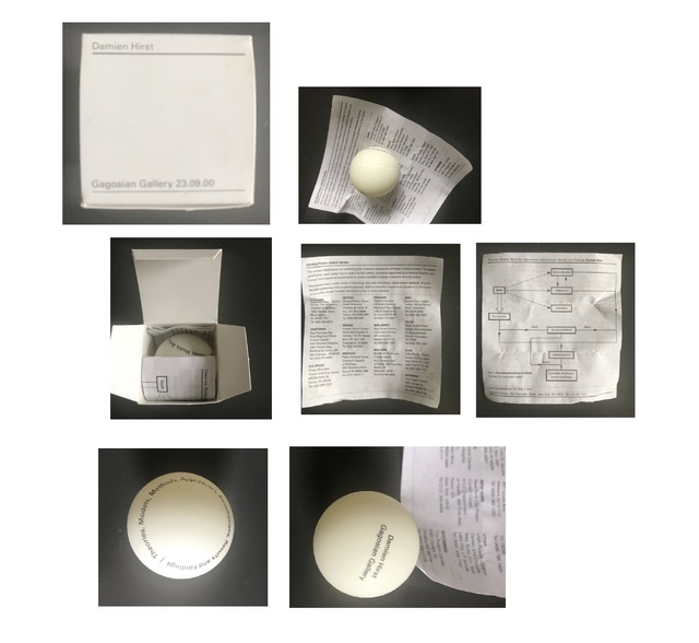 "Damien Hirst, '""Theories, Models, Methods, Approaches, Assumptions, Results and Findings"", 2000, Gagosian NY,  Ping Pong Ball Invitation', 2000, VINCE fine arts/ephemera"