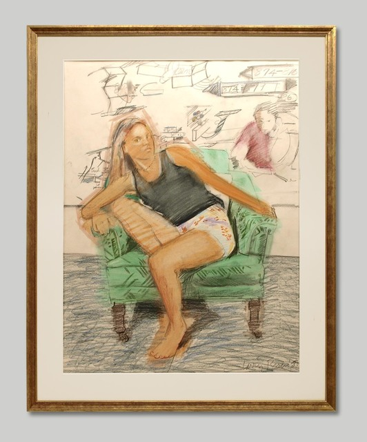 Larry Rivers, 'Be Seated: Gwynne I', 1988, Drawing, Collage or other Work on Paper, Graphite and Colored Pencil, Approximately Blue