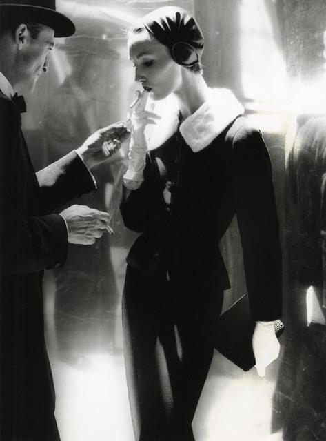, 'By Night, Shining Wool And Towering Heel, Suite By Handmacher, Evelyn Tripp, New York, Harper's Bazaar,' 1954, Edwynn Houk Gallery