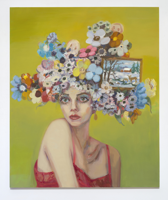 , 'Dolores (Girl with Flowered Hat and Landscape,' 2019, Anat Ebgi