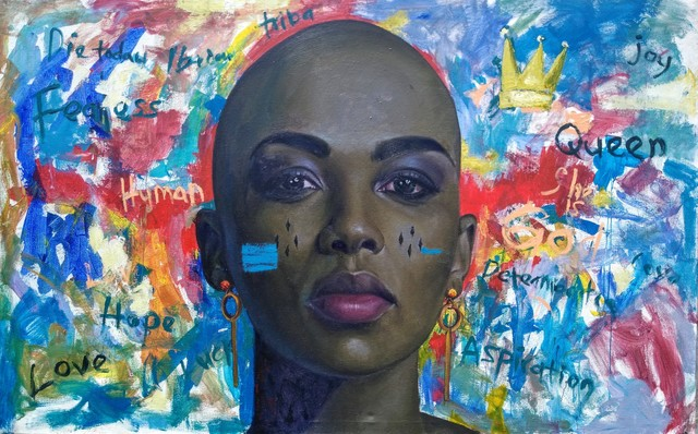 oluwole omofemi, 'In Her', 2019, Painting, Oil & Acrylic on Canvas, Signature African Art