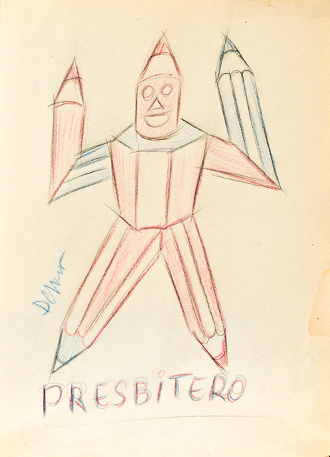 Fortunato Depero, 'Presbitero (uomo-matita)', 1926, Drawing, Collage or other Work on Paper, Colored pencils, 11 [HH] Art Gallery