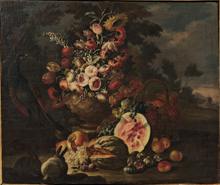 Two Elaborate Still Life Compositions with Flowers, Fruit, and Animals