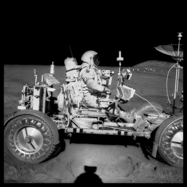 , '070 David Scott Drives the First Lunar Rover; Note Aerial Navigation Photographs; Photographed by James Irwin, Apollo 15, July 26-August 7, 1971,' 1999, Danziger Gallery
