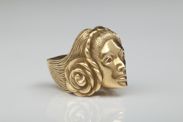 ", '""Self-portrait"" gold figural ring,' 1973, Didier Ltd."