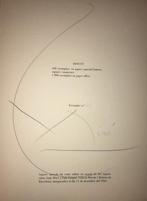 Joan Miró, 'Obra Inedita Recent (plate VII)', 1964, F.L. Braswell Fine Art