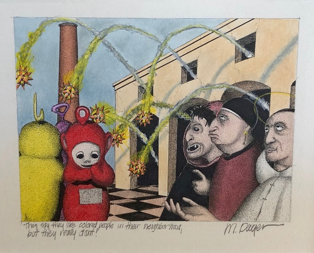 Michael Dwyer, 'They Say They Like Colored People in Their Neighborhood, but They Really Don't.', 2020, Drawing, Collage or other Work on Paper, Mixed Media on Paper, M.A. Doran Gallery