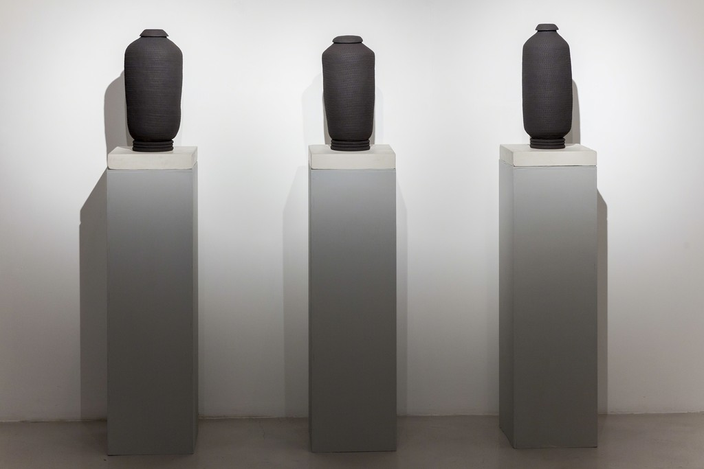 "Isobel Church, ""Ex Nihilo"" (I,II,III), 2017, black stone ware, c. 45x20cm each at Montoro12 Contemporary Art"