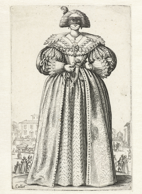 , 'Dame met masker en bloem, van voren gezien (Lady with mask and flower, seen from the front),' , Rijksmuseum
