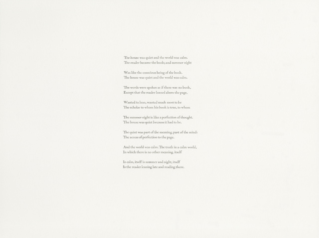 , 'Wallace Stevens, The house was quiet and the world was calm (1946),' 2018, Gallery Joe