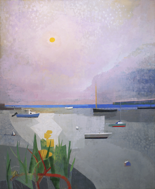 , 'Finally, is bayside painting with abstract boats, a lavender sky and green plants. Modernist themes.,' 2017, Gallery Henoch