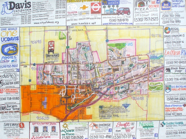 , 'Street Bike Map Of Davis, California,' 2014, Joshua Tree Art Gallery