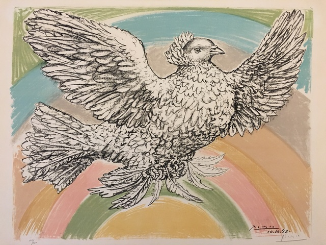 Pablo Picasso, 'Le Colomb Volant  - The Flying Dove with a rainbow', 1952, Print, Original chalk drawn Lithograph in 8 colours on Arches watermarked paper, Puccio Fine Art