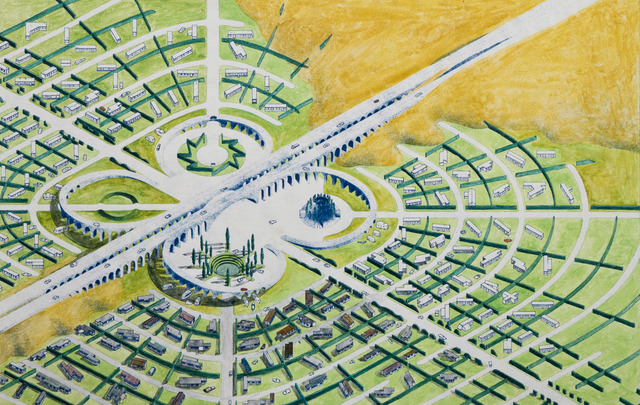 , 'Utopian California Community, Mobile Homes Park, Colored Overview,' 1976, Edward Cella Art and Architecture