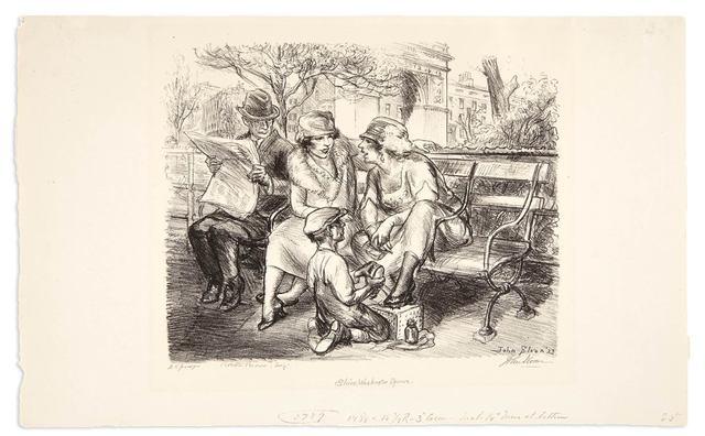 John Sloan, 'SHINE, WASHINGTON SQUARE (M. 210)', 1923, Doyle