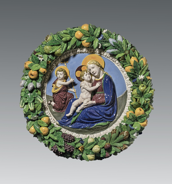 , 'The Virgin and Child and the Young Saint John the Baptist (The Madonna of Humility, or Madonna of the Meadow), within a garland of fruit and flowers,' ca. 1510, Brun Fine Art