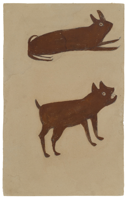 Bill Traylor, 'Brown Rabbit, Brown Dog', 1939-1942, Drawing, Collage or other Work on Paper, Pencil, poster paint on cardboard, Fleisher/Ollman