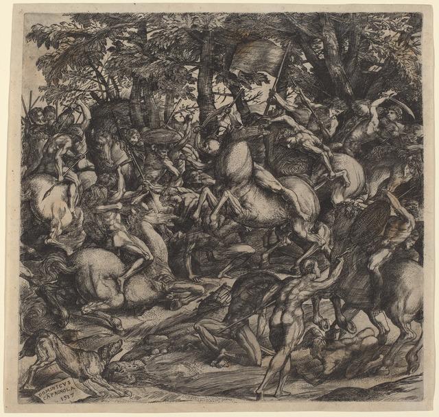 Domenico Campagnola, 'Battle of Nude Men', 1517, Print, Engraving, National Gallery of Art, Washington, D.C.