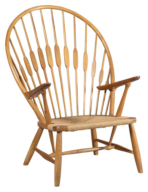 'Hans Wegner Ash, Teak and Rush Seat Peacock Chair Model JH 550, issued by Johannes Hansen', Design/Decorative Art, Doyle