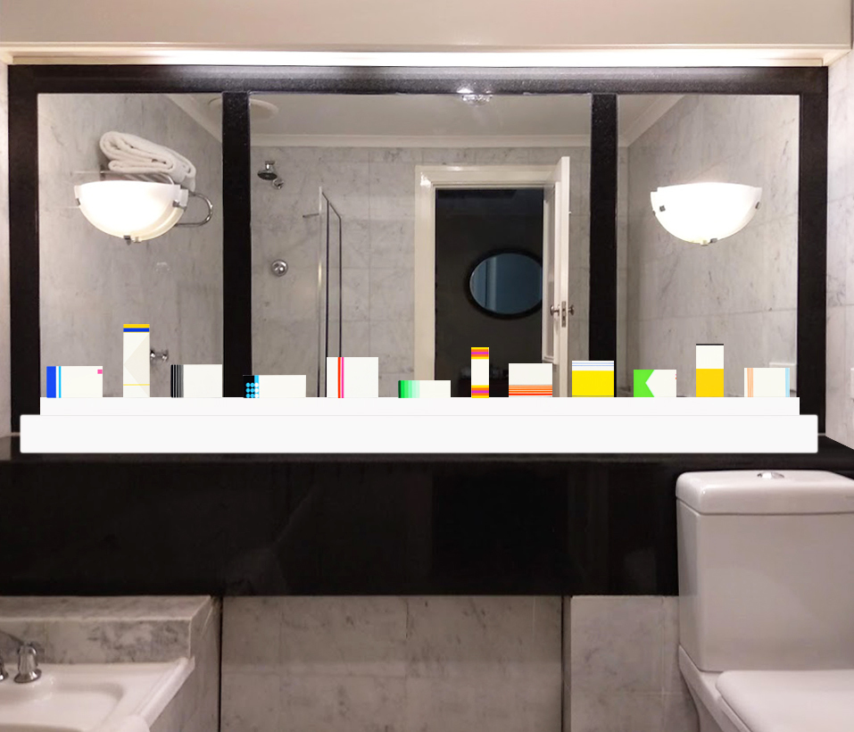 Installation view of Peter Atkins 'Medicine Bathroom', 2012-2018