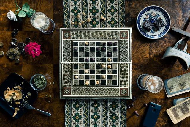 Christos J. Palios, 'Chess, Stereoscope, & Garden Roses', 2020, Photography, Archival Pigment Canson Platine Print, Isabella Garrucho Fine Art