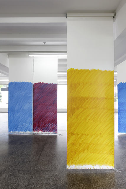 , 'Blind No. 15, Fifteen-foot ceiling or lower, (Primary Magenta/Phthalo Blue (Red Shade)/Hansa Yellow Opaque/Primary Yellow),' 2011, Petzel Gallery/Capitain Petzel