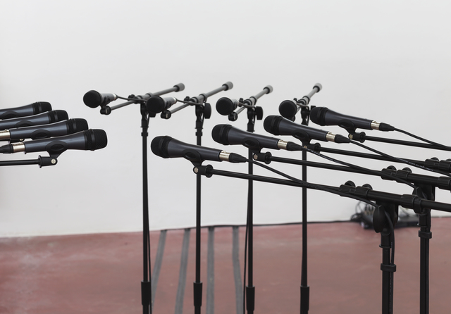 Naama Tsabar, 'Barricade #2', 2016, Installation, 12 microphones and microphone stands with matching audio equipment, Dvir Gallery