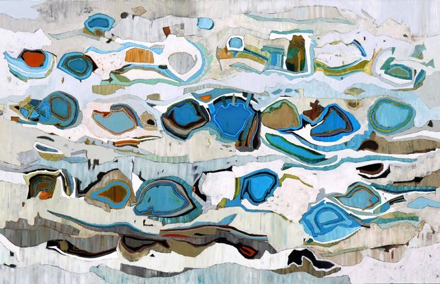 """, '""""Catalina Channel 6"""" Large Scale Abstract Oil Painting with Blues and Neutrals,' 2010-2018, Eisenhauer Gallery"""