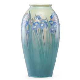 Large Vellum vase with stylized flowers and birds