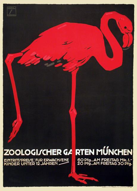 , 'Zoologischer Garten Munchen - Munich Zoo - Flamingo,' 1912, Omnibus Gallery