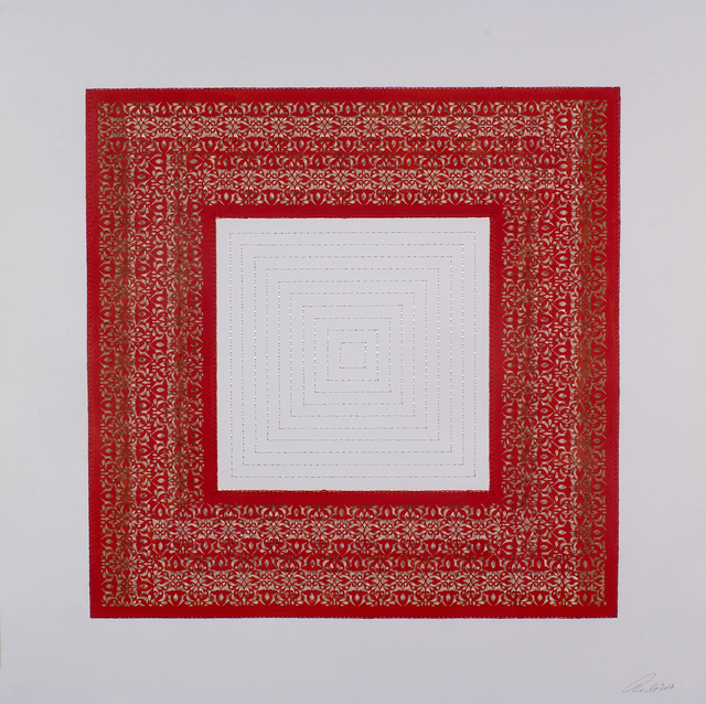 Anila Quayyum Agha, 'Flowers (Red and White Squares)', 2017, Drawing, Collage or other Work on Paper, Mixed media on paper (encaustic red square with white stitching in center), Sundaram Tagore Gallery
