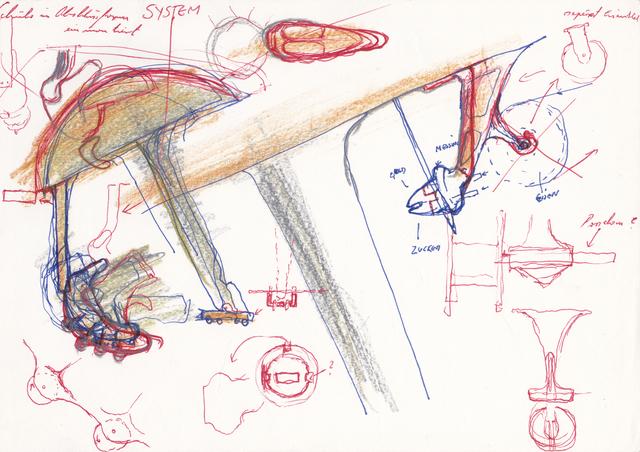 , 'Ohne Titel (Schuhe im Abschlussformer(?) einmontiert, SYSTEM, seperat Eisenteil),' 1980, Galerie Elisabeth & Klaus Thoman