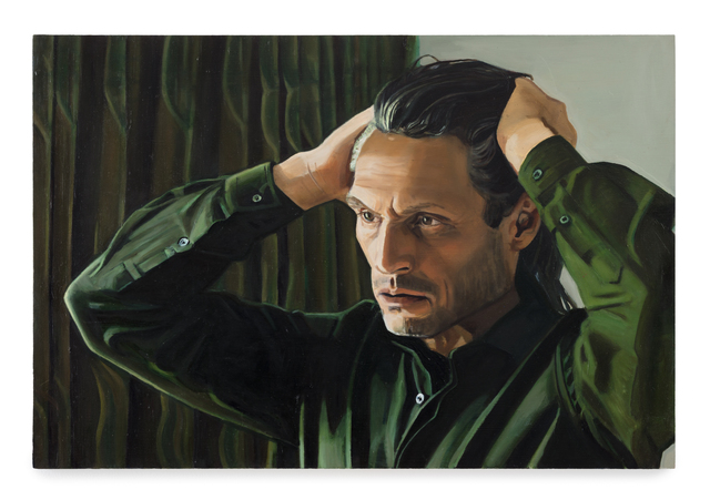 , 'Man in front of a green curtain,' 2014, Andréhn-Schiptjenko
