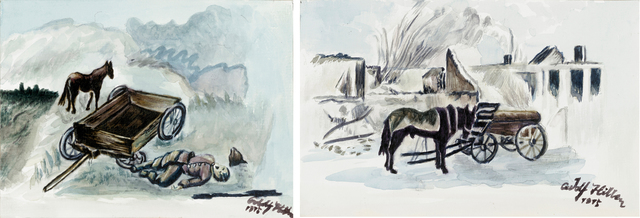 Yang Jiechang 杨诘苍, 'After the Battle 1914-2014 Nos. 5 and 6 战后 1914-2014,5,6号', 2014, Drawing, Collage or other Work on Paper, Charcoal and watercolor on paper 木炭、水彩,纸本, Ink Studio