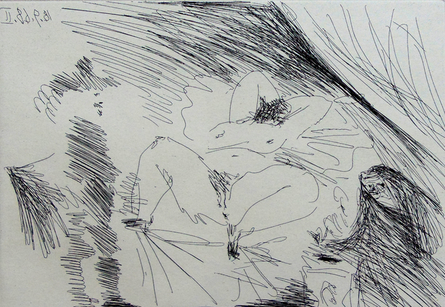 Pablo Picasso, 'Young woman on a Bed, Procuress and Gentleman, from the Suite 347', 1968, Gilden's Art Gallery