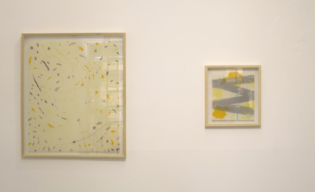 Left: Waltz, 2016, 4 Plate sugarlift aquatint in various colours