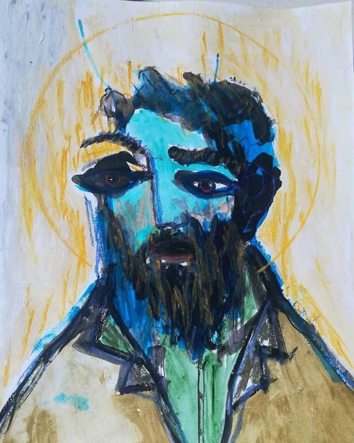 Pascal Briba, 'Le Saint', 2018, Painting, Acrylic and dry pastels on paper, Maison Depoivre