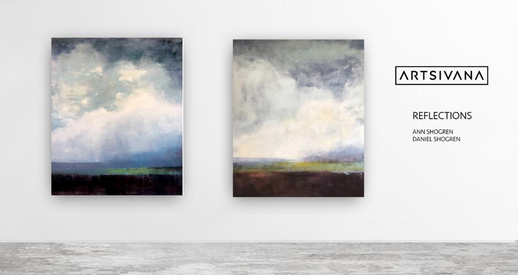 Dramatic 72x60 minimalist landscapes by Ann Shogren.