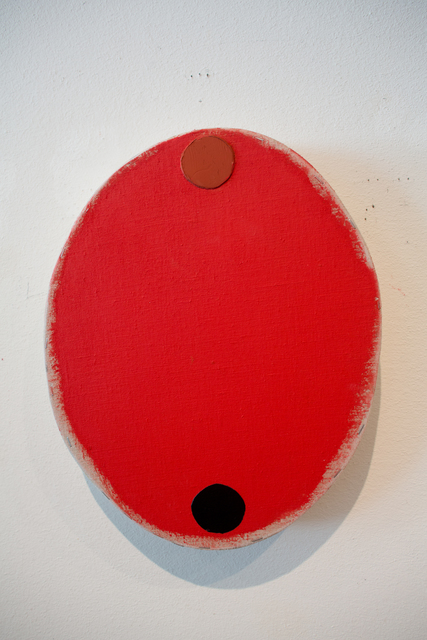 , 'Red Oval with Red Oxide and Black Circles,' 2016, Barry Whistler Gallery