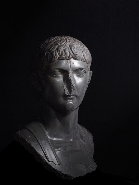 , 'Bust of Germanicus, great-nephew of Augustus with a Christian cross carved onto the forhead,' c. 14-20 AD, British Museum