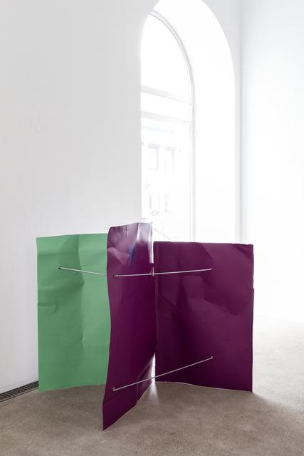, 'Weißgrün/Signalviolett/Signalviolett (Flyer 3-teilig),' 2016-2018, Galerie Elisabeth & Klaus Thoman