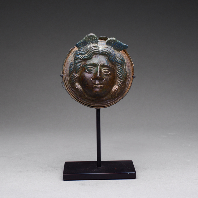 Ancient, 'Roman Bronze Roundel Depicting the Winged Head of Medusa', 100 AD to 300 AD, Barakat Gallery