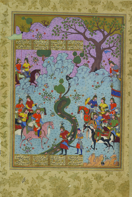 , 'Piran Recounts His Defeat to Afrasiyab, folio 110b from the Peck Shahnama,' 1589-1590, Princeton University Art Museum