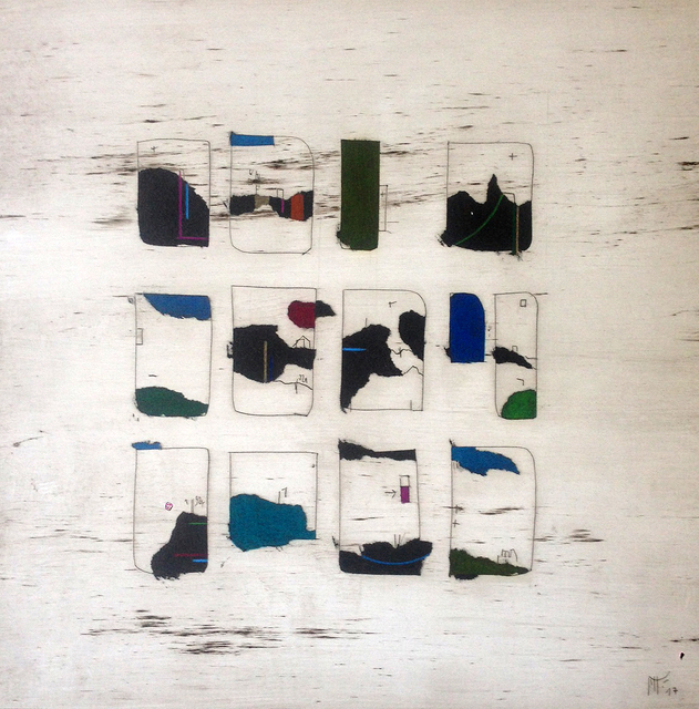 Manu vb Tintoré, 'Joc de cartes 7', 2017, Drawing, Collage or other Work on Paper, Enamel and colored pencil on engraved paper, N2 Galería