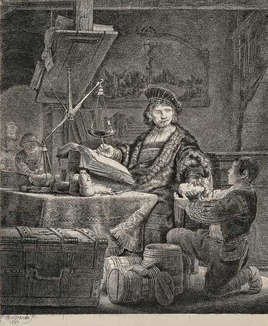 Rembrandt van Rijn, 'Jan Uytenbogaert, The Goldweigher', 1639-a 19th century impression, Skinner