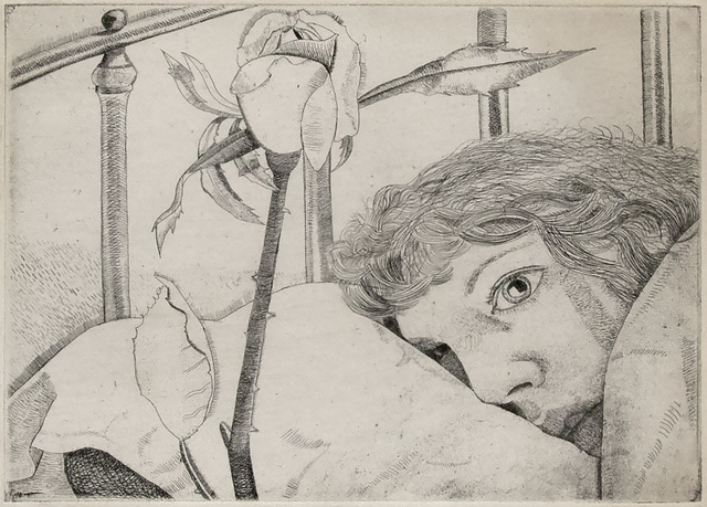 Lucian Freud, 'Ill in Paris', 1948, Print, Etching, Mary Ryan Gallery, Inc